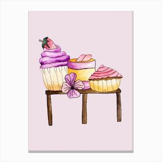 Cute Party Cupcakes Canvas Print