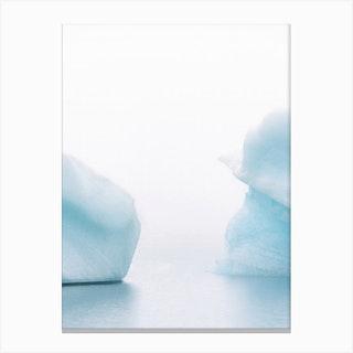 Iceberg Duet In Iceland Glacier Lagoon In Fog Canvas Print