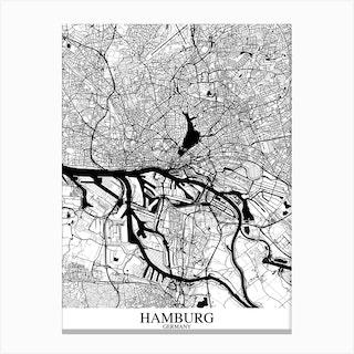 Hamburg White Black Canvas Print