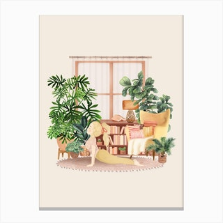 Yoga With Plants 3 Canvas Print