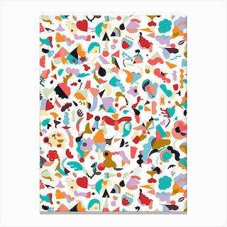 Dreamy Animal Shapes White Canvas Print