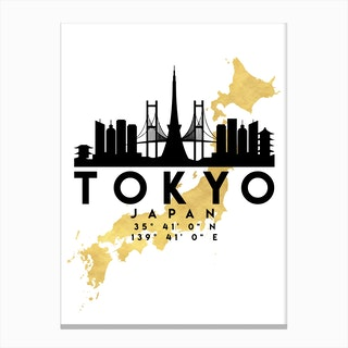 Tokyo Japan Silhouette City Skyline Map Canvas Print