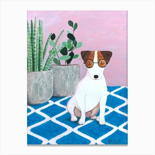 Jack Russell And Plant Canvas Print