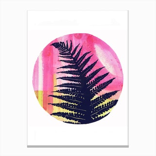 Fern On Pink And Lime Canvas Print