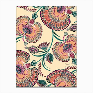 Eastern Painted Floral Pattern Canvas Print