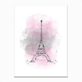 Watercolor Art Eiffel Tower - Pink Canvas Print
