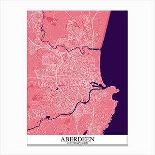 Aberdeen Pink Purple Map Canvas Print