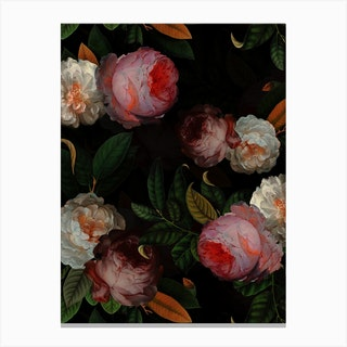 Antique Jan Davidsz De Heem Roses Night Garden Canvas Print