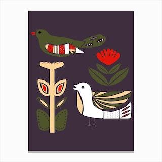 Folkie Birds Canvas Print