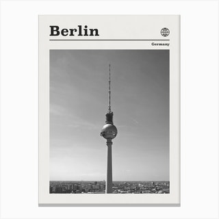Berlin Germany Tower Black And White Canvas Print