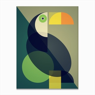 Mid Century Geometric Toucan Canvas Print