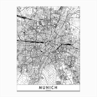 Munich White Map Canvas Print
