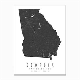 Georgia Mono Black And White Modern Minimal Street Map Canvas Print