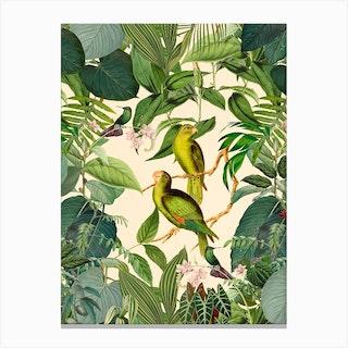 Green Jungle Parakeets Canvas Print
