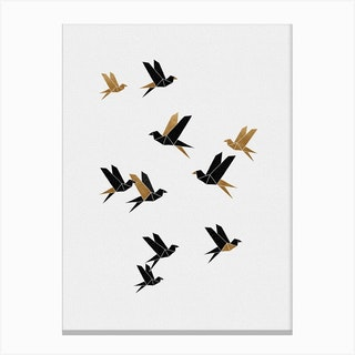 Origami Birds Collage I Canvas Print