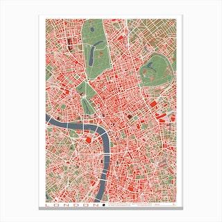 London Classic Map Canvas Print