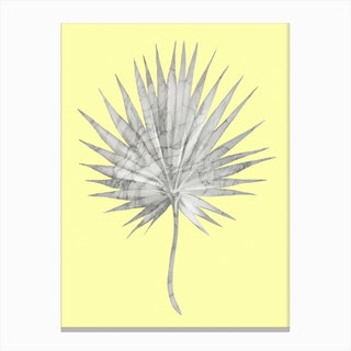 White Marble Fan Palm Leaf on Yellow Wall Canvas Print