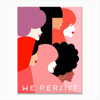 Girl Power We Persist Coral Canvas Print