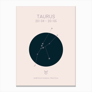 Taurus Star Sign In Light Canvas Print