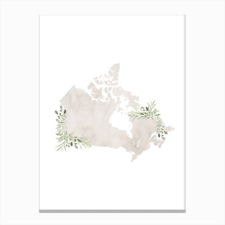 Watercolor Leaves Canada Canvas Print