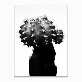 Black Cactus Canvas Print