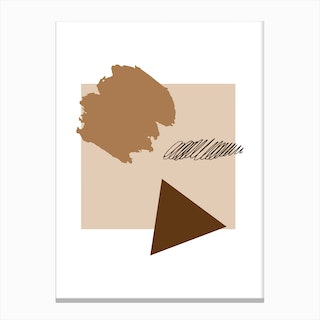 Abstract Beige Box with Shapes Canvas Print