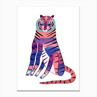 Tiger Large Colorful Canvas Print