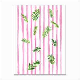 Pink Stripes And Palms Canvas Print