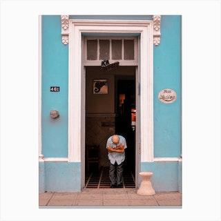 Blue Bar Latino In Merida Mexico Canvas Print