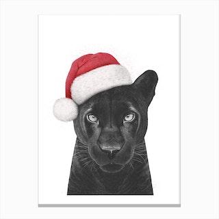 Christmas Panther Girl Canvas Print