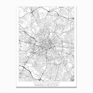 Manchester Map Minimal Canvas Print