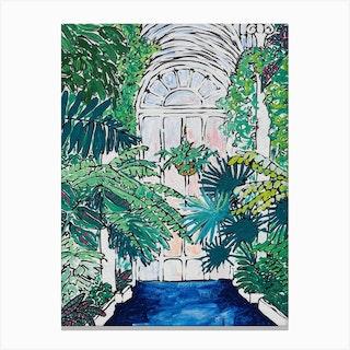 A Solitary Walk At Kew Gardens Plant House Interior Canvas Print