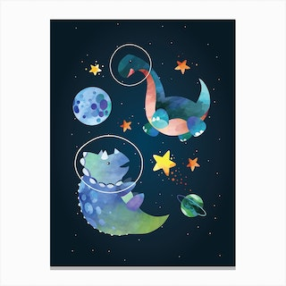 Watercolour Space Dinosaur Triceratops Canvas Print