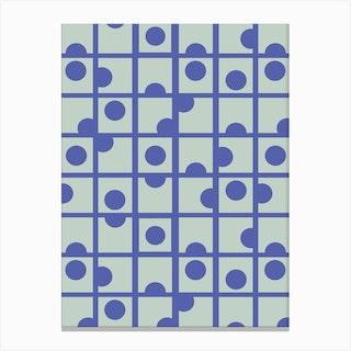 Blue Retro Circles Canvas Print
