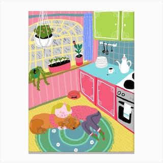 Sleeping On A Kitchen Floor Canvas Print