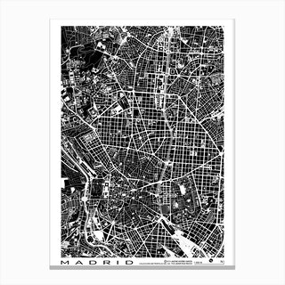 Madrid Black & White Map Canvas Print
