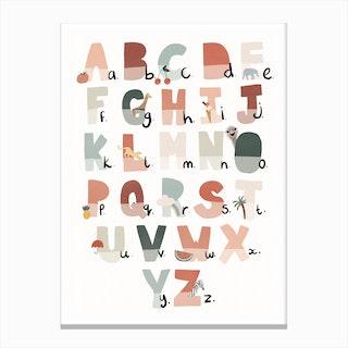 Illustrated Alphabet Chart  Tutti Fruit Canvas Print
