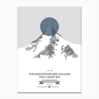 Mountains Illustrated K2 Blue Circle Canvas Print