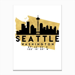 Seattle Washington Silhouette City Skyline Map Canvas Print