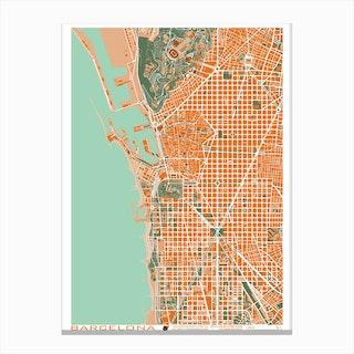 Barcelona Orange Map Canvas Print