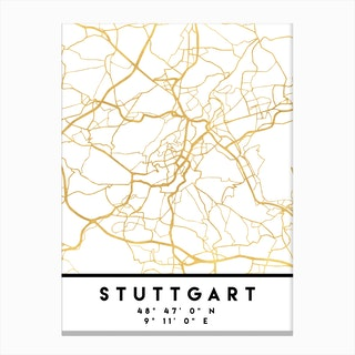Stuttgart Germany City Street Map Canvas Print