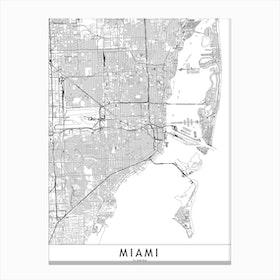 Miami White Map Canvas Print