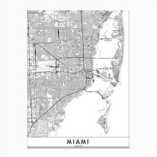 Miami White Map Canvas Print