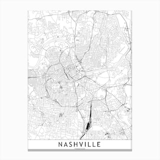 Nashville White Map Canvas Print