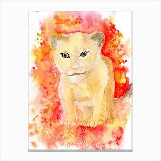 Lion Cub Splash Canvas Print