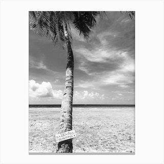 Keep Barbados Beautiful Black And White Canvas Print