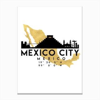 Mexico City Silhouette City Skyline Map Canvas Print