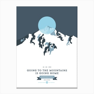 Mountains Illustrated Kangchenjunga Blue Circle Canvas Print