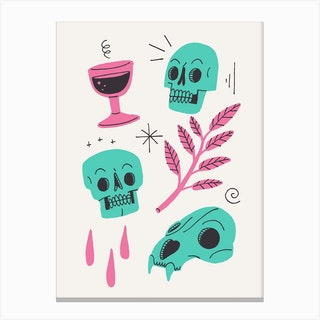 Skulls And Wine Light Canvas Print