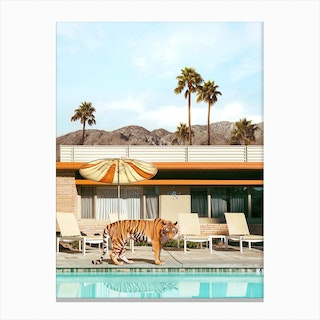 Pool Party Tiger Canvas Print